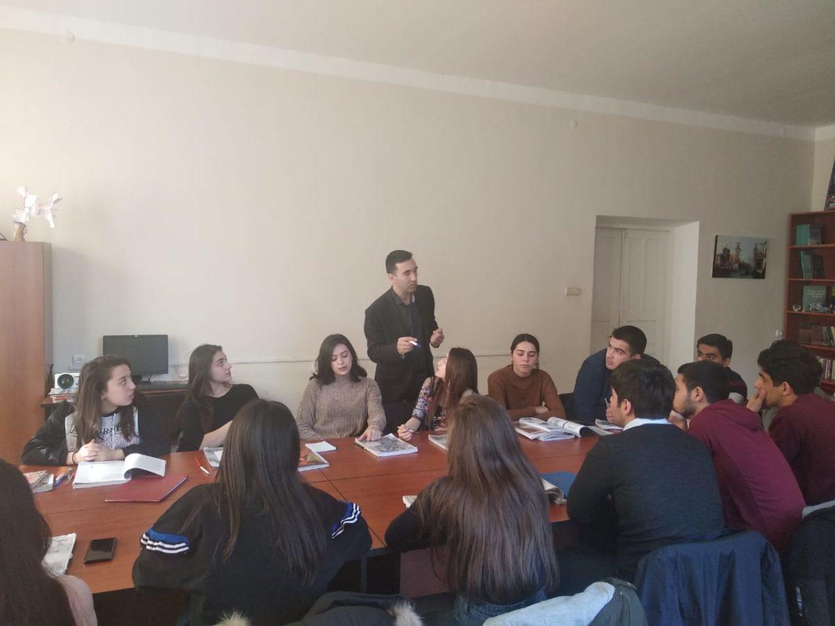 Una lezione alla facoltà di italianistica dell'Università di Baku